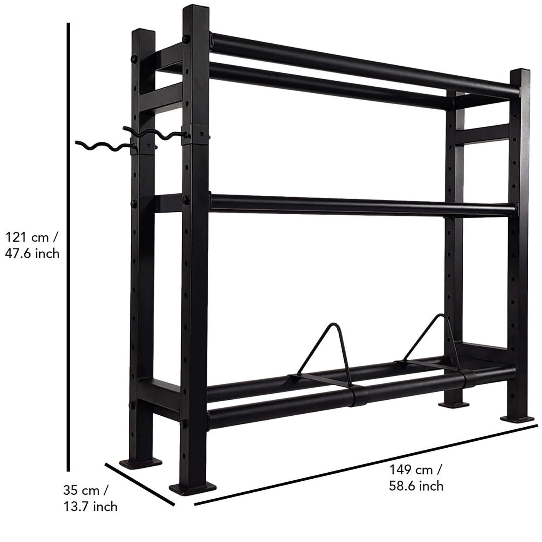 Wall-Kettle-Bumper Multi Storage Rack
