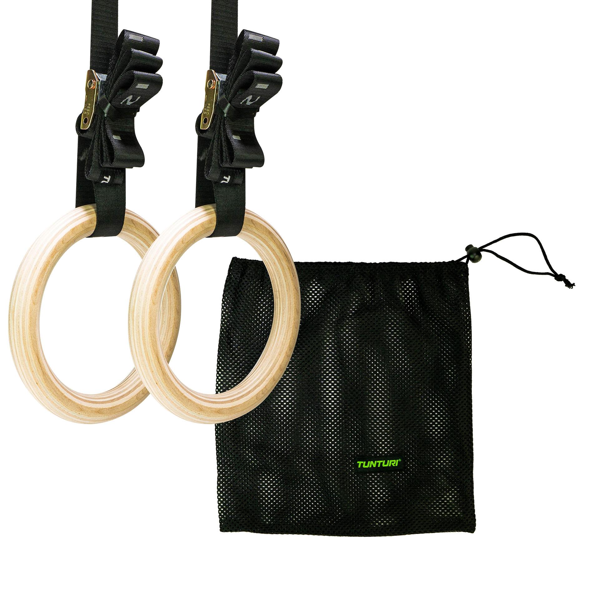 Gymnastic rings hout - 32mm diameter - inclusief riem