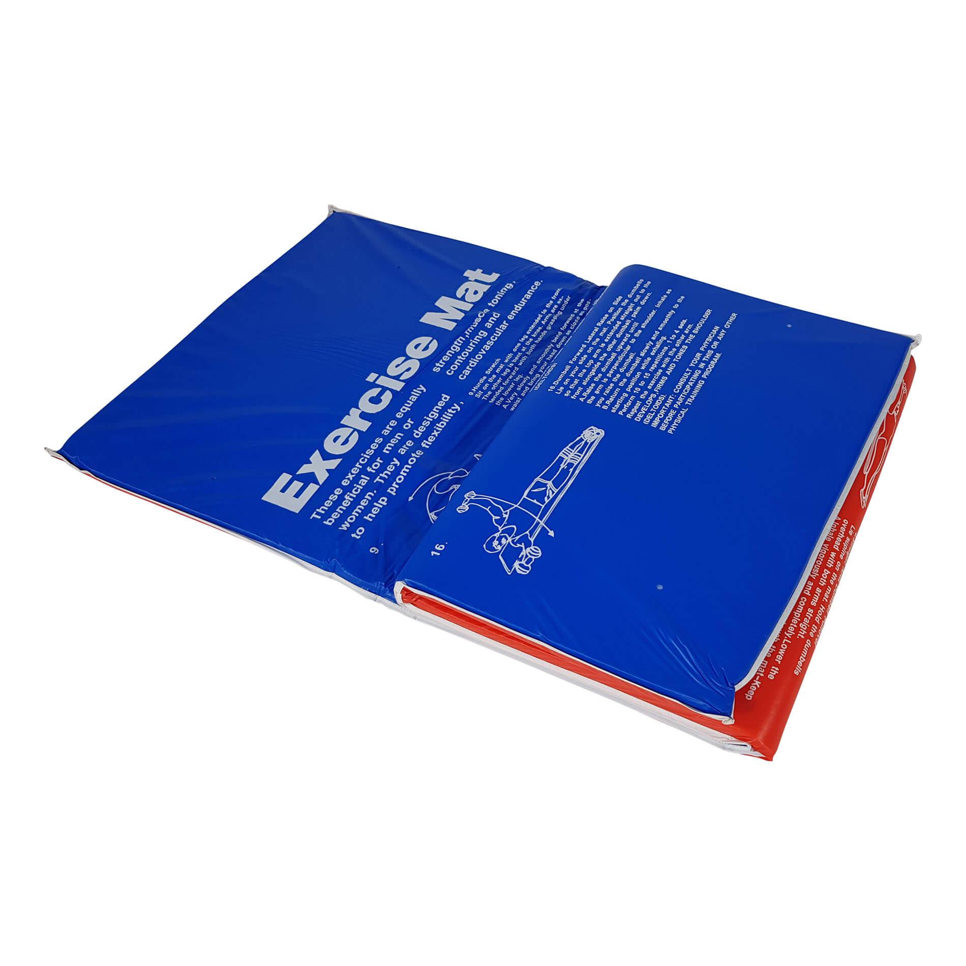 Aerobic mat - Fitnessmat - Oefenmat - 180 cm x 60 cm x 2,5 cm - Rood/Blauw