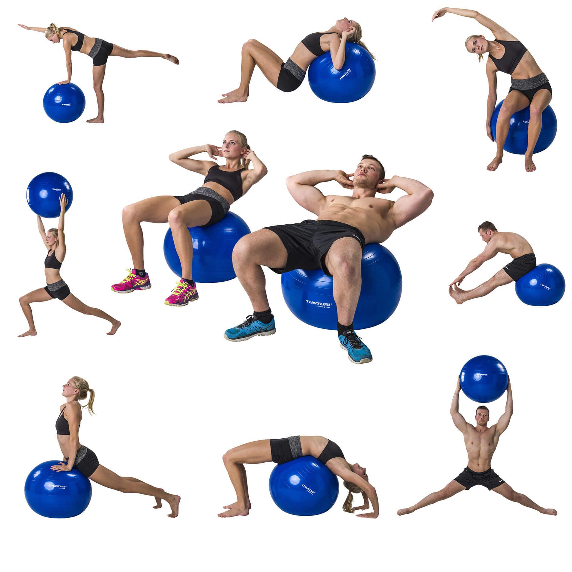 Fitnessbal - Inclusief pomp - Zilver