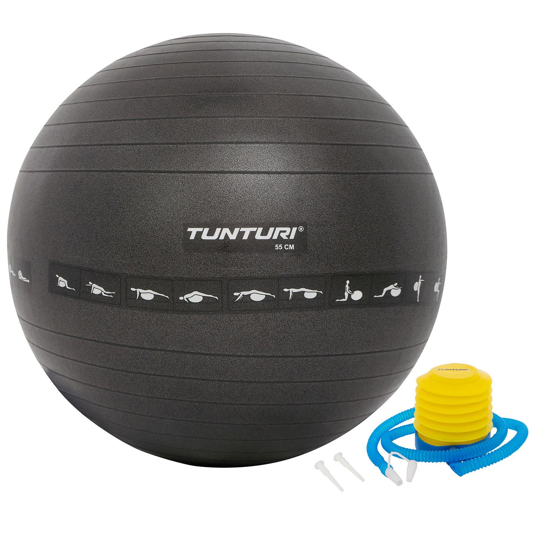 Fitnessbal - Anti burst - Inclusief pomp - Zwart